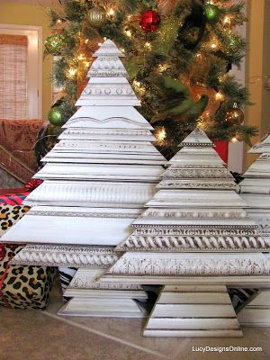 recycled repurposed christmas tree art using picture molding