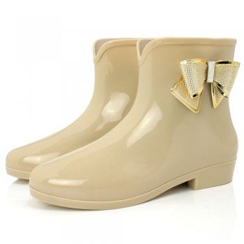 Wellies for the wet weather! ... MIRANDA Flat Festival Wellies Wellington Bow Ankle Boots - Nude