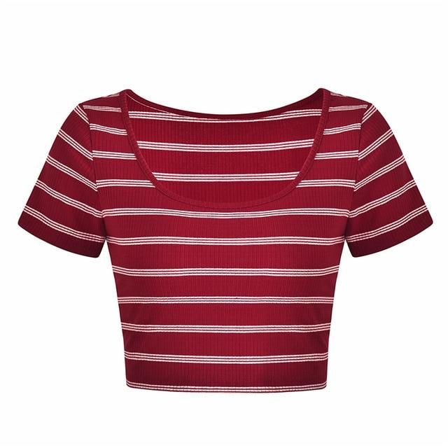 Red Stripe Cropped T Shirt Women Short Basic Tee Tops 2019 Summer High Street Chic Crop Top Femme Camisetas Mujer DN07351 L 2
