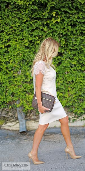 Ivory lace blouse by Cupcakes and Cashmere, J. Crew pencil skirt, Jimmy Choo nude, pointy pumps and LV handbag