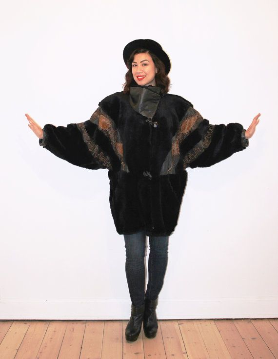 Black fur coat with faux snakeskin by CirkusVintageCph on Etsy