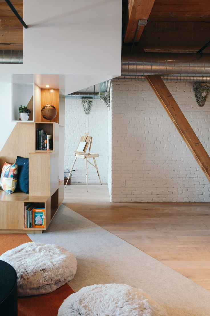 Custom furniture follows lines of geometric graffiti in Los Angeles live-work loft by CHA:COL