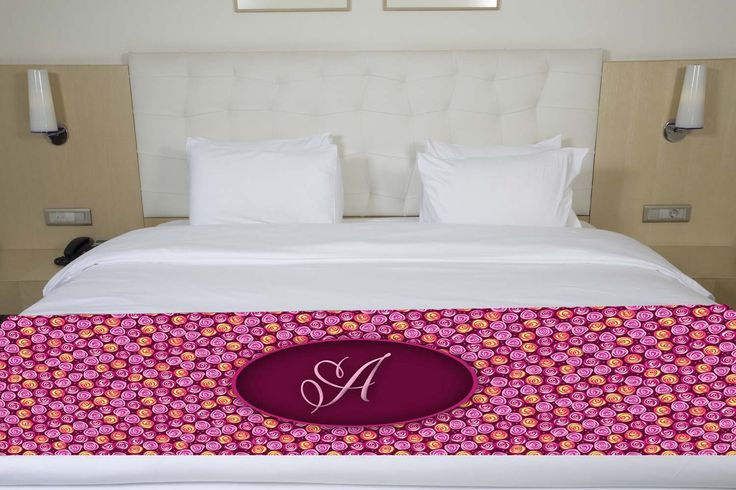 Purple & Pink Floral Initial Bed Runner