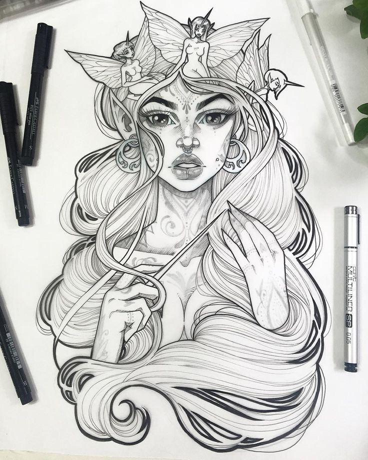 """""""""""Spectre"""" Ink on Vellum over Graphite on paper. I might fill her tattoos in…"""