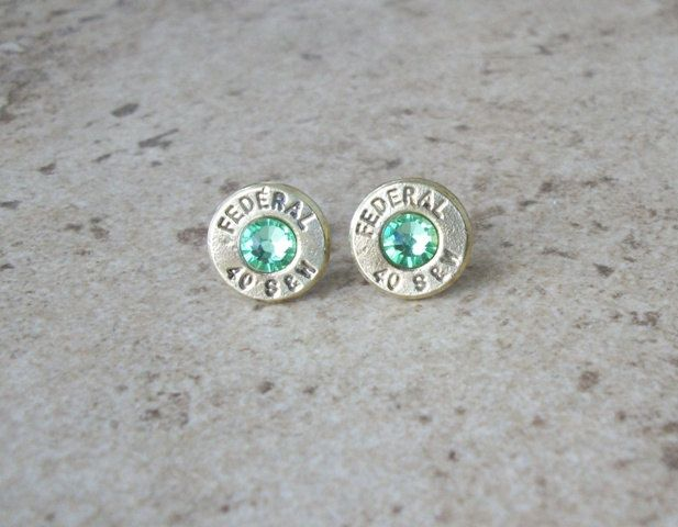 Federal 40 S&W Bullet Stud Earring Peridot Swarovski by OruAka, $19.99