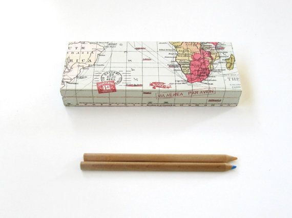 World map wooden pencils case with compartments by ArtandWoodShop