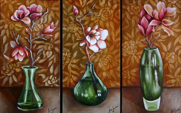 Green Vase Triptytch - Oil Painting by Julie Sneeden