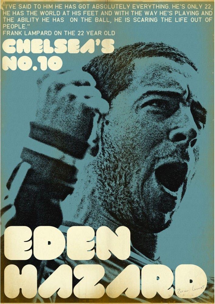 Affiche football vintage de Zoran Lucic, Eden Hazard Football Print