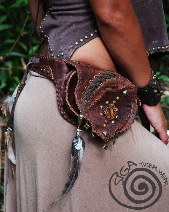 RESERVED to BiBys Leather Hip Bag One Pocket Tiger Eye