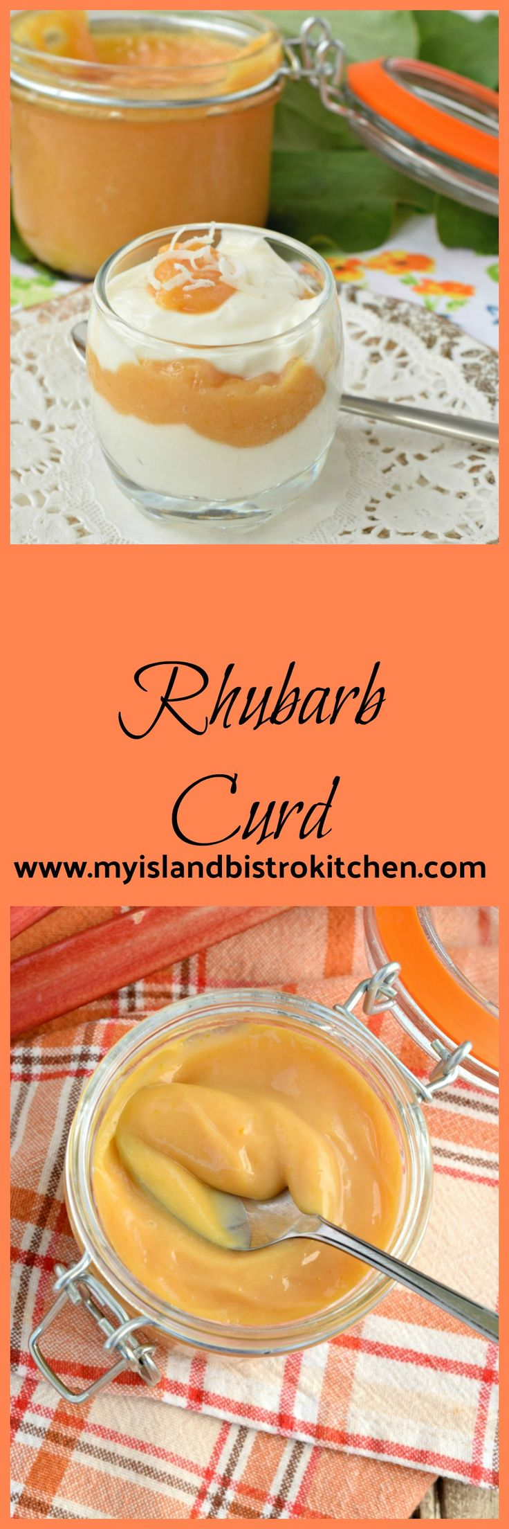 A delightfully creamy rhubarb curd that is a perfect spread on muffins, scones, or biscuits or added to a yogurt parfait.