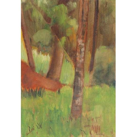 """PANCETTI<BR>""""""""Árvores – Campos do Jordão""""<br>Óleo sobre cartão colado em madeira.<br>C.1949). Ass. inf. esq.<br>46 x 32 cm.<br>Reproduzido na pág.196 do livro """"Pancetti o Pintor Marinheiro""""<br>Fundação Conquista – Rio de Janeiro – 1979.<br>Reproduzido no catálogo da exposição """"Pancetti Um Pintor Pintor"""" – Arte do Brasil.<br>Eduardo da Rocha Azevedo e Raul de Souza Dantas Forbes – São Paulo – 1997.<br>"""