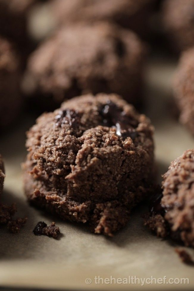 Naked Chocolat Chip Cookies with pulp from making almond milk, dark chocolate, rice malt syrup or honey, vanilla, oil.