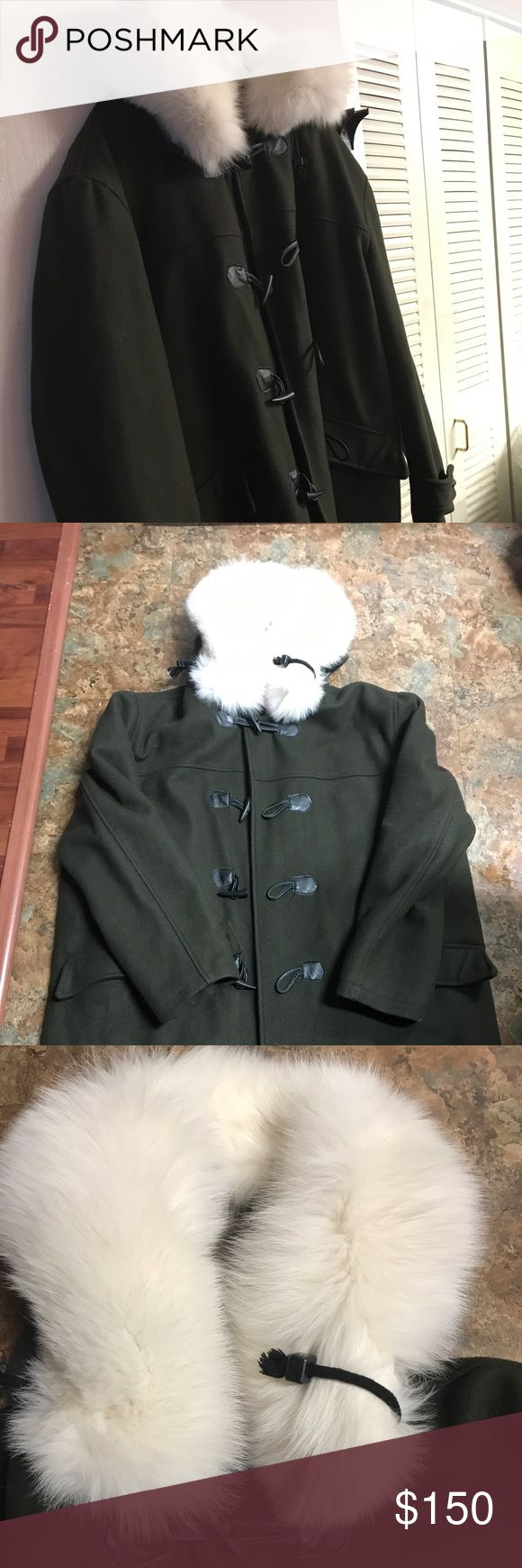 Men's Army Green Wool PeaCoat Gently use custom fur collar wool with wooden buttons Schott NYC Jackets & Coats Pea Coats