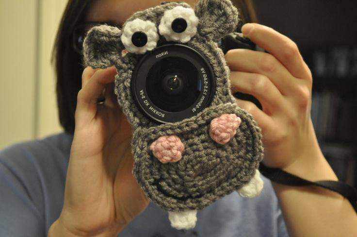 Hippo Camera Lens Buddy with SqueakerCrochet Ideas, Crafts Ideas, Cameras Buddy, Crochet Photos, Hippo Cameras, Camera Lens, Cameras Lens, Buddy Ideas, Crochet Knits