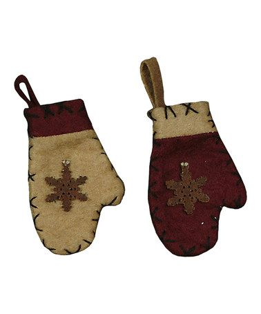 Take a look at this Snowflake Mitten Ornament Set by Primitives by Kathy on #zulily today!