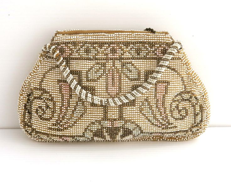 Vintage Art Deco hand beaded purse with geometric pattern in micro seed beads, bronze, white, pink, turquoise, zipped top, circa 1930s by CardCurios on Etsy