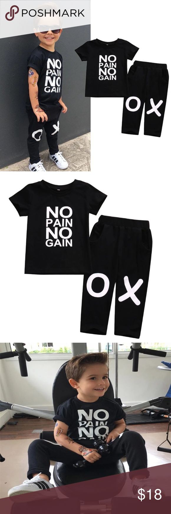 Boutique Unisex NO PAIN NO GAIN 2pc set Adorable gender neutral black short sleeve top with white NO PAIN NO GAIN across the front. Black pants have X & O on knees. Matching Sets