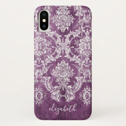Plum Vintage Damask Pattern and Name iPhone X Case - girly gifts girls gift ideas unique special