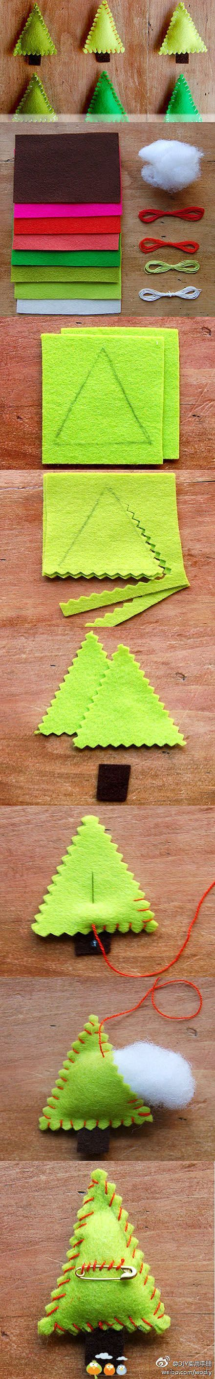 Felt Christmas Trees-pinking sheer cuts to give felt that extra fluffy look! :o)