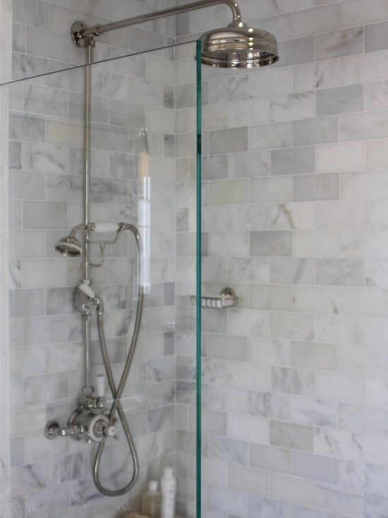 White Subway Tile Bathroom Design, Pictures, Remodel, Decor and Ideas - I love the gray and white. I think Gray is just a more sophisticated neutral than beige and tan :-)