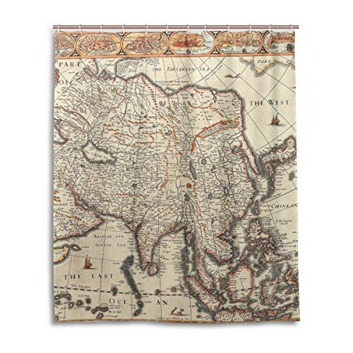 MRMIAN Polyester WaterproofOld Vintage World Map Retro Map 16 Decorative Unique Stylish Bath Shower Curtain Set with 12 Plastic Hooks 60x72 Bathroom Curtain * Check out this great product.