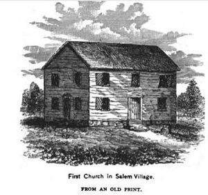 The meetinghouse of the first church in Salem Village, illustration published in the New England Magazine, Volume 5, in 1892. #salemwitchtrials #salemmassachusetts #ushistory