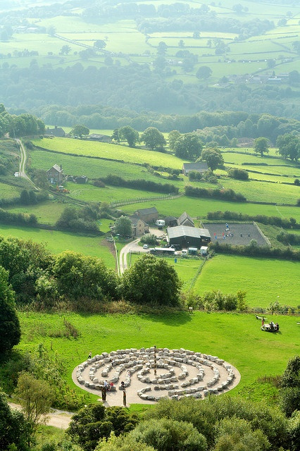 """""""A labyrinth and the Derwent Valley seen from the memorial to the Sherwood Foresters at Crich Stand, Derbyshire, UK."""""""