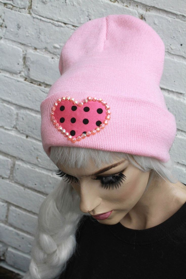 12.48$  Buy here - http://vitkw.justgood.pw/vig/item.php?t=9h5sdvx34659 - BABY PINK HEART BEANIE HAT INDIE ALT HIPSTER SOFT GRUNGE CROSS 12.48$