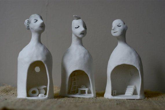 Porcelain bells 10  Three Inner spaces  Group of 3 by erinswindow, $180.00