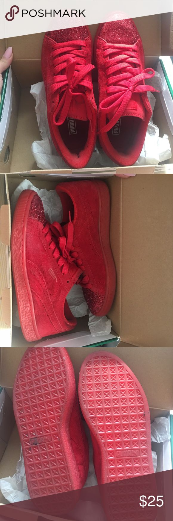 Glitter pumas Custom glitter red pumas worn 3 times size 5.5 Puma Shoes Sneakers