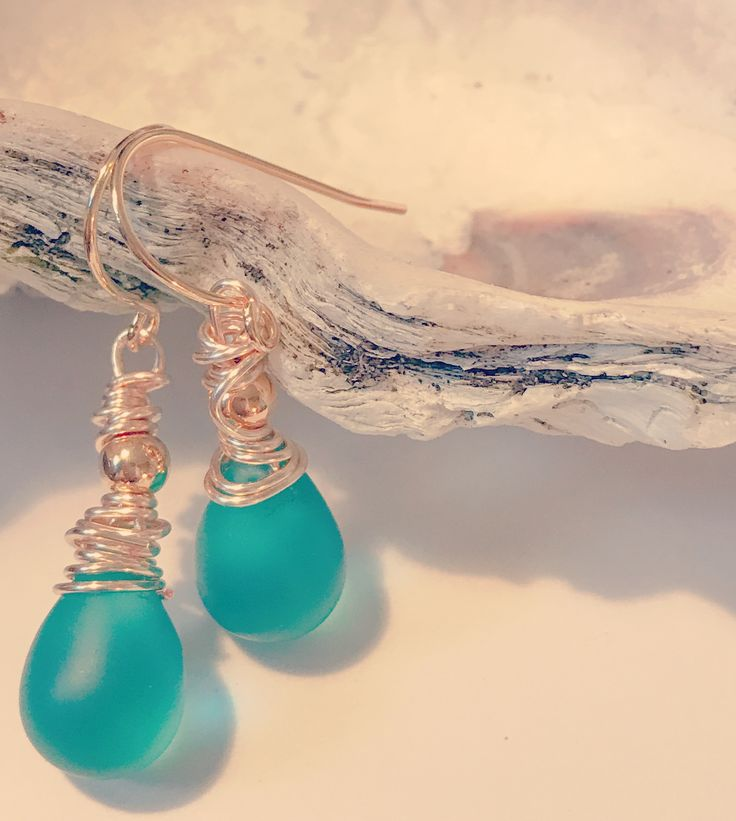 Sea glass bead wire wrapped earrings at graceandcharma.com
