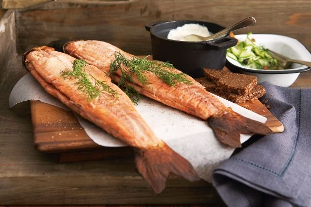 Celebrate the colder seasons with this beautiful whole smoked trout meal with lashings of creme fraiche.