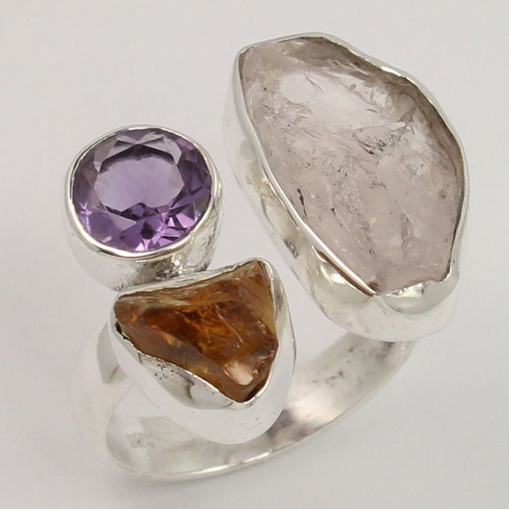 925 Sterling Silver Ring Size US 7.5 Natural AMETHYST & Other Gemstones Exporter #Unbranded #Fashion