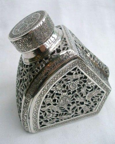 Tintero antiguo de plata
