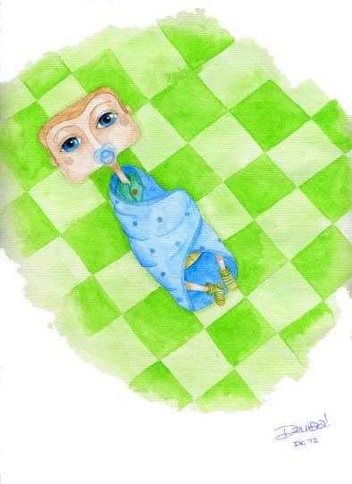 Ilustración Infantil, un bebé en acuarela!