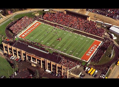 Paul Brown Tiger Stadium (Massillon, Ohio)   The home of Washington High School or, more famously, the Massillon Tigers, Paul Brown Tiger Stadium is named for the legendary NFL head coach who started his coaching career at the high school. (Ohio High School Athletic Association)