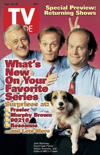 TV Guide September 24, 1994 -  John Mahoney,  David Hyde Pierce, Kelsey Grammer and Moose of Frasier