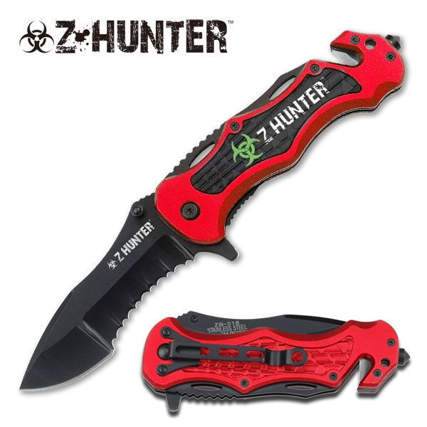 Z-Hunter Red Tactical Rescue Assisted Opening Pocket Knife