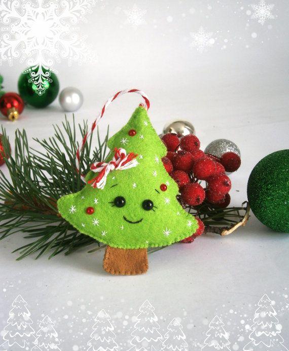Ornements de Noël feutre décor ornement de Noël cadeau nouvel an Noël ornement arbre décorations senti Qu