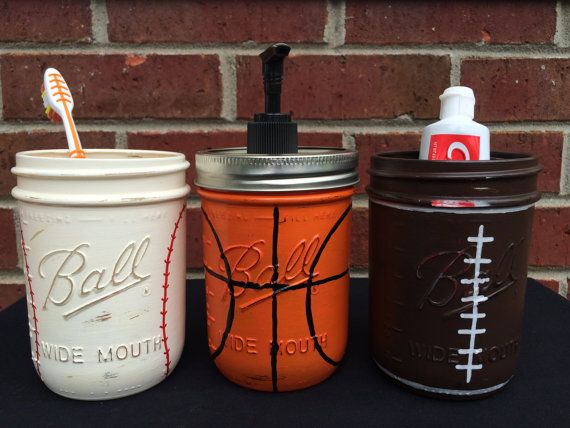 Sports Theme Bathroom Decor, Baseball Football Basketball Bathroom Decor, Soap Dispenser, Hand Painted Mason Jar Bathroom Decor, Gift, Sport