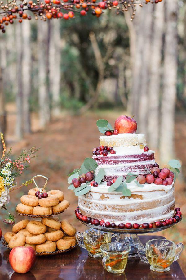 fall wedding cake - photo by Sarah and Ben Photography http://ruffledblog.com/fantastic-mr-fox-wedding-inspiration