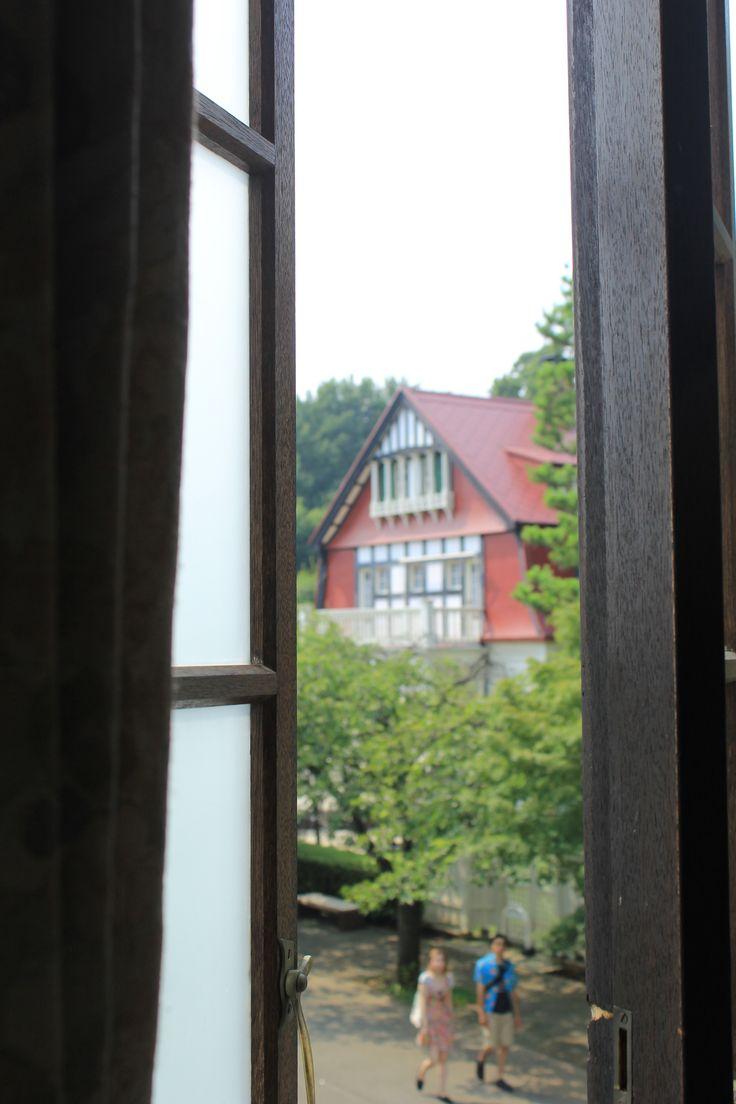 european old house over the window, Edo-tokyo Tatemonoen, Tokyo