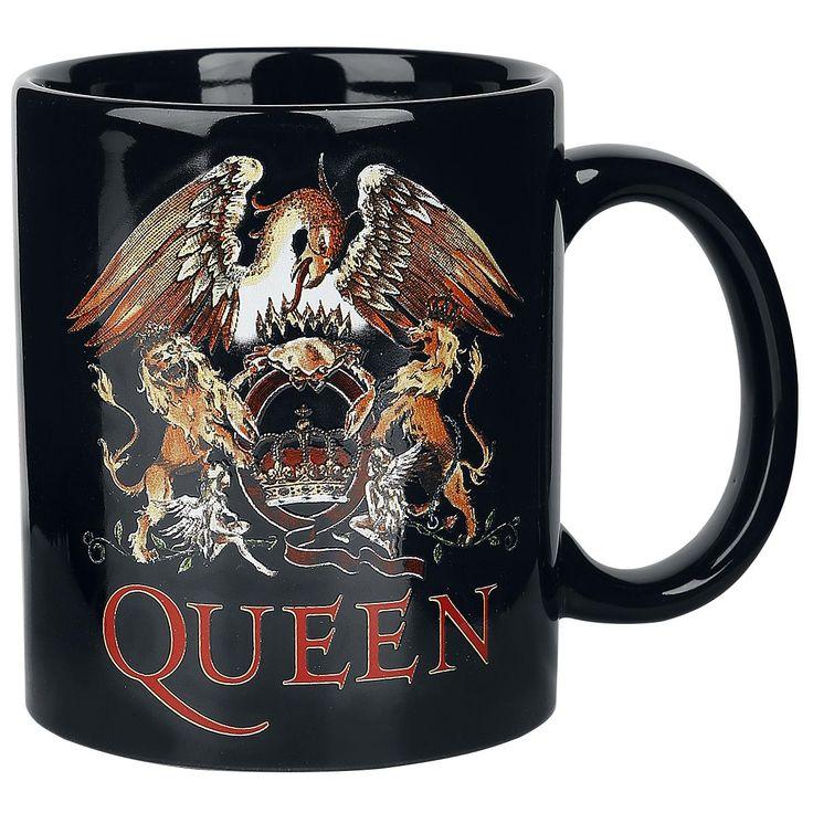 "Tazza in ceramica nera ""Classic Crest"" dei #Queen."