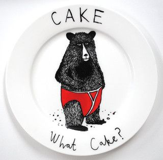 Hand Painted Bear Side Plate, What Cake By Jimbobart - Contemporary - Serving Utensils - by Etsy