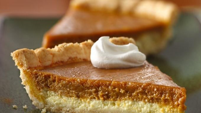 ... creamy pumpkin and sweet cream cheese to create a super-easy pie