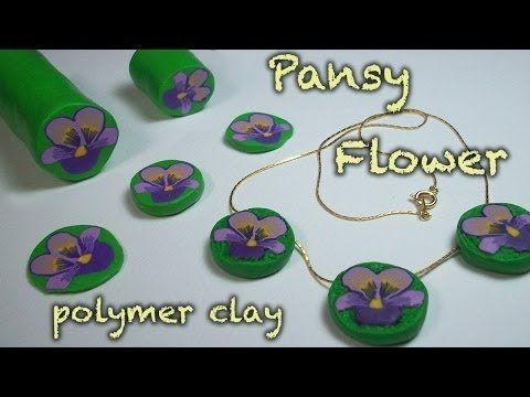 ▶ DIY Polymer Clay flower cane - Pansy - Viola del pensiero - Violeta - YouTube