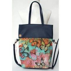 X deep bllue, Xprinted, # textile leather# handbag#buttereflies sötétkék pillangó mintás 2in1 textilbőr táska