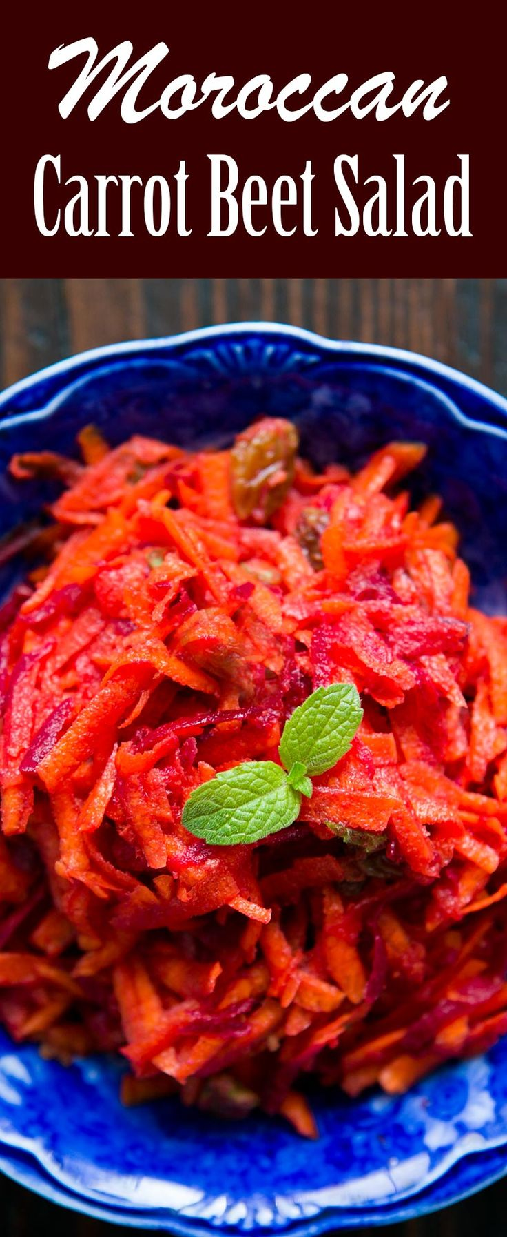 This Moroccan Carrot Beet Salad is the BEST! with shredded raw carrots and beets, raisins, and a cinnamon, cumin, dressing.