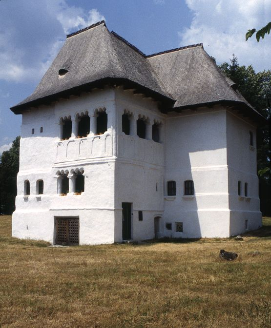 Măldăreşti, Romania -The Cula Greceanu was constructed over three centuries, beginning in the 17th century.  The grillwork door on the south opens into a series of three rooms each with small window openings. The small doorway on the east leads to a cellar level below and the larger doorway gives entry to a stairway to the first upper level. A second stair from this middle level leads to the uppermost level with the larger cerdac.