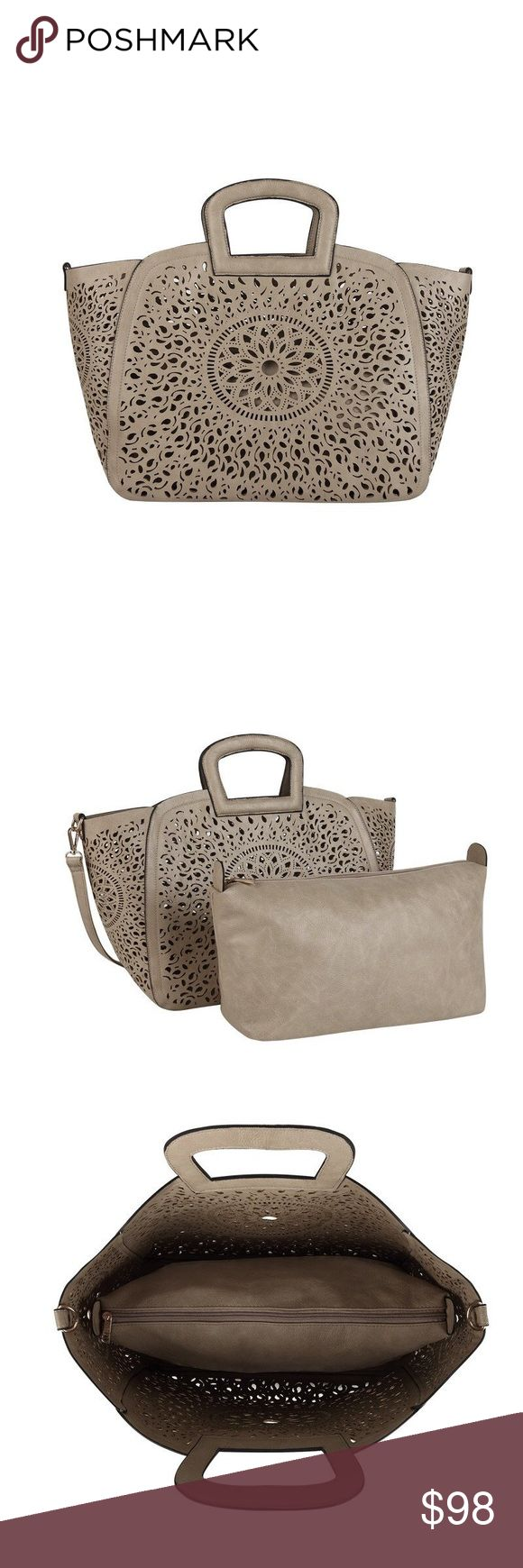 Nancy Laser Cutout Tote Melie Bianco (SOLD OUT in store) Premium Vegan Leather Extra Removable Pouch With Top Zipper Detachable Crossbody Strap Interior Slim Pockets Interior Zipper Pocket Dimensions 19'L x 6'W x 12.5'H Handle Drop 3' Colors: Stone Melie Bianco Bags Totes